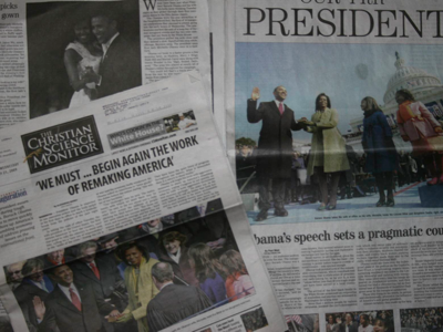 Newspapers with Obama's Inauguration www.PollyCastor.com