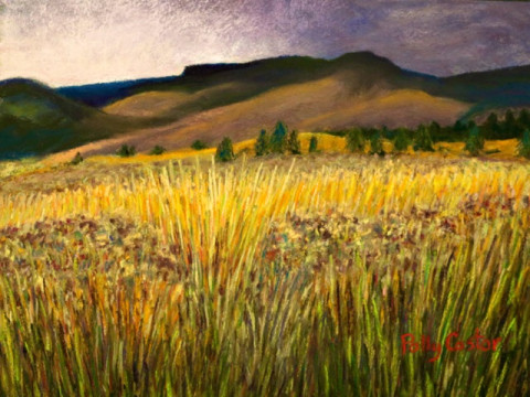 Pastel landscape by Polly Castor, From Storm into sunshine, art by Polly Castor