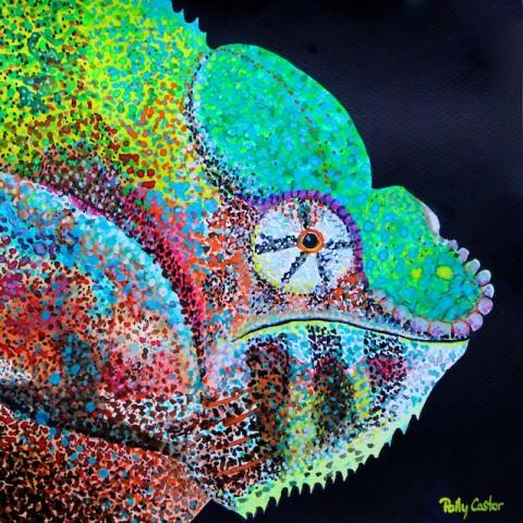 Chameleon in gouache, art by Polly Castor