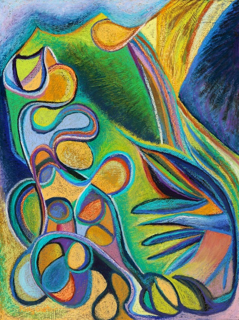 Meandering Curiosity (abstract expressionist pastel painting) by Polly Castor