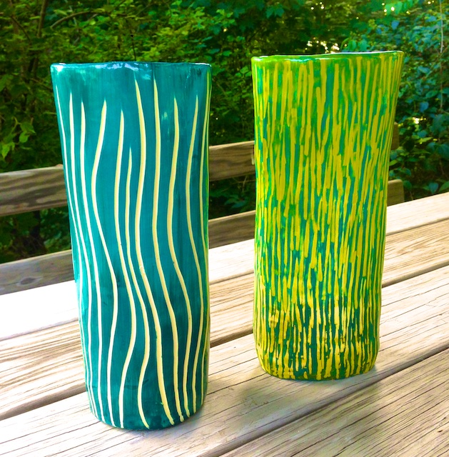 two new ceramic vases
