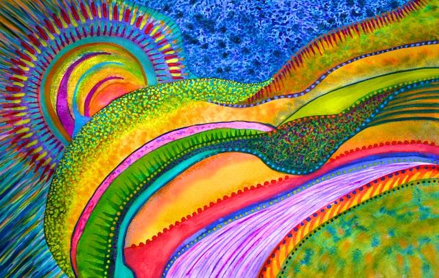 On the edge of the World (gouache) by Polly Castor