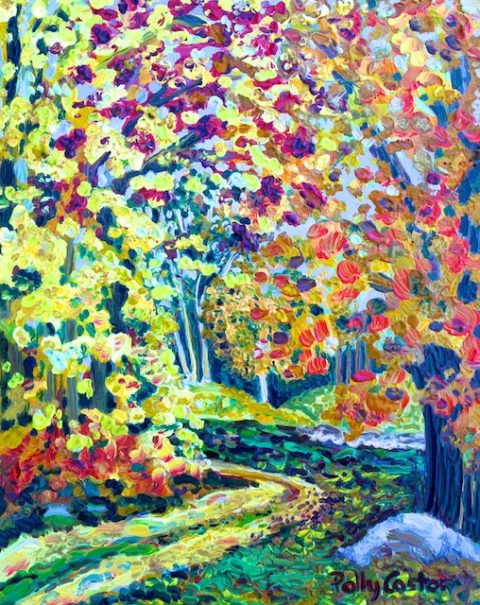 October Path Between Meadows (Plein Air Oil Painting) by Polly Castor
