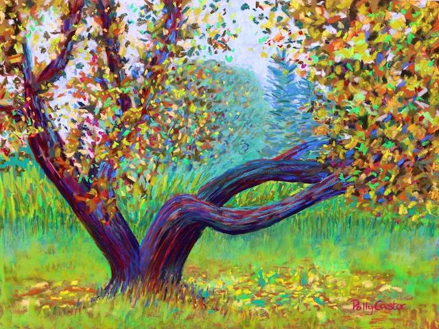 Apple Tree Near Islesford Dock (pastel) by Polly Castor