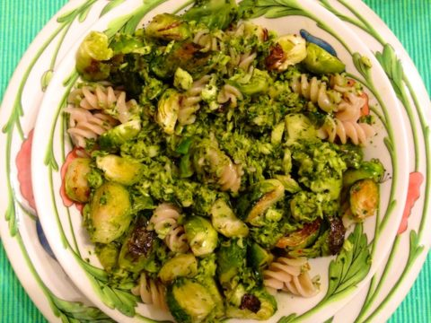 Vegan Pesto with Fish and Brussels Sprouts