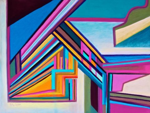 House by the Bay (new abstract landscape in pastel) by Polly Castor