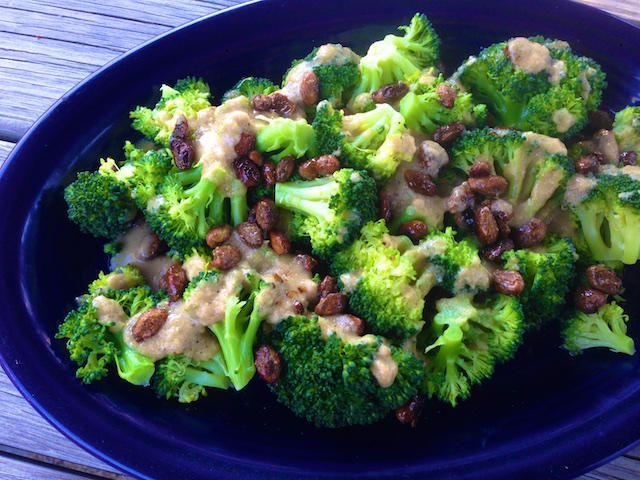 Broccoli with Pralined Pistachios and Tahini Dressing (Recipe)