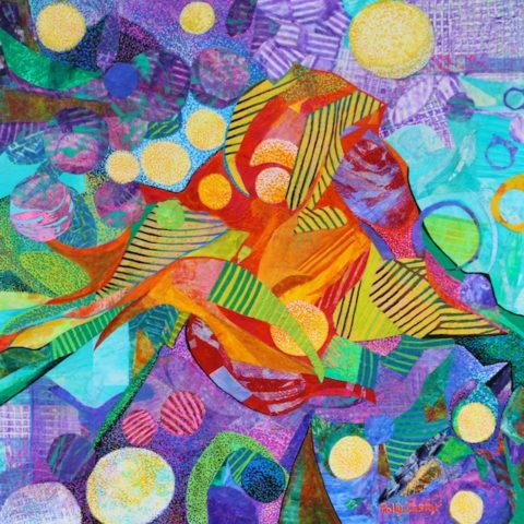 Light in the Heights (Monoprint Collage) by Polly Castor