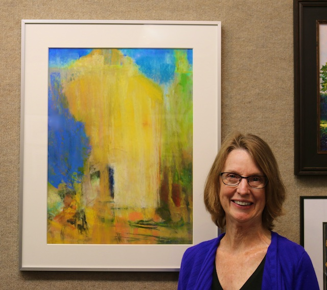 Anne Merriam with her Yellow and Blue #4 (pastel)