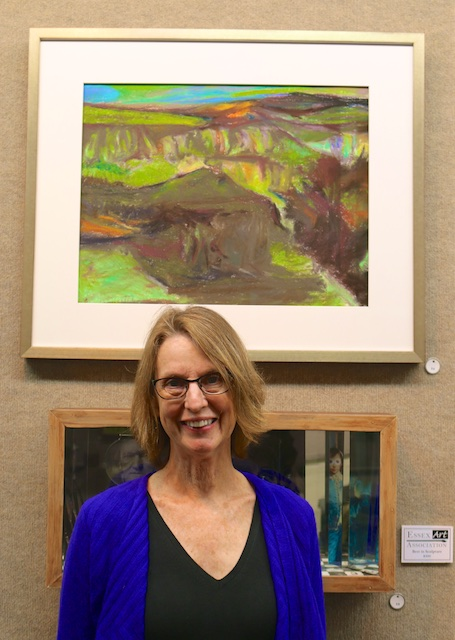 Anne Merriam with her Landers, WY (pastel)