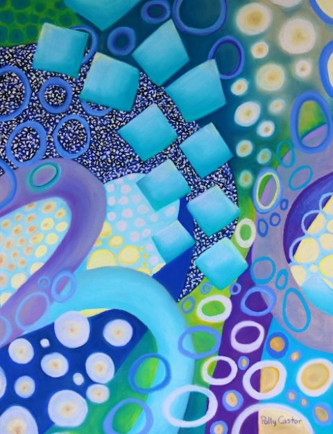 July (abstract conceptualist painting in pastel) by Polly Castor
