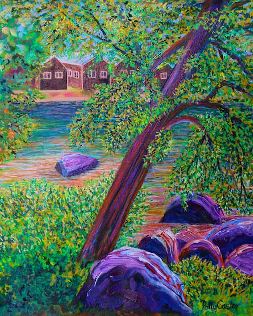 Leaning Tree at Camp Newfound (acrylic) by Polly Castor