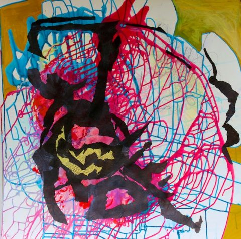 Caught in a Web of Your Own Devising (mixed media) by Polly Castor