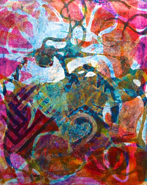 Interlaced Ambiguities (monoprint) by Polly Castor