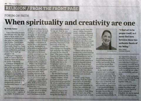 When Spirituality and Creativity Are One (Newspaper Article by Me)