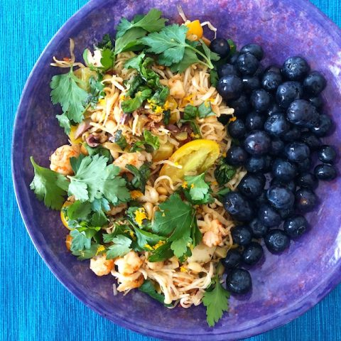 Spiralized Celeraic with Langostino, Tomatoes, Olives & Herbs (Recipe)