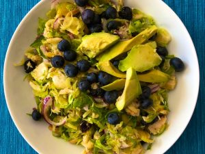 Tuna Salad with Shaved Brussels Sprouts and Citrus Dressing