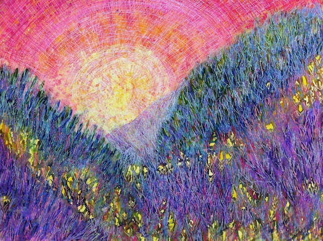 Hills of Purple Heather (mixed media) by Polly Castor