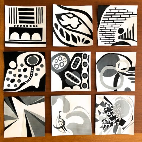 Nine Black and White Collages