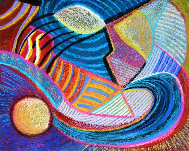 Live in the Present (New Abstract in Pastel by Polly Castor)