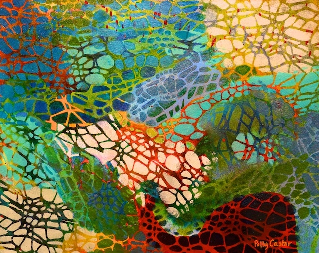 Xylem (acrylic monoprint with ink) by Polly Castor