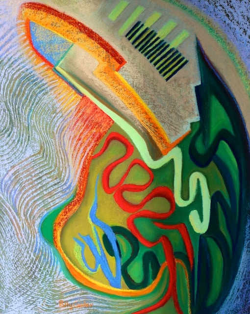 Testosterone (abstract painting in pastel) by Polly Castor