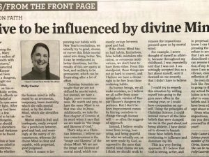 Strive to Be Influenced by Divine Mind (Newspaper Article by Polly Castor)