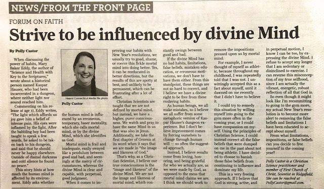 Strive to Be Influenced by the Divine Mind (Newspaper Article by Polly Castor)