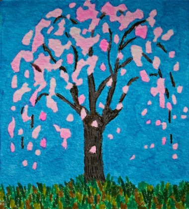 Polly Castor art: Weeping cherry tree