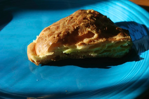 a slice of gougere