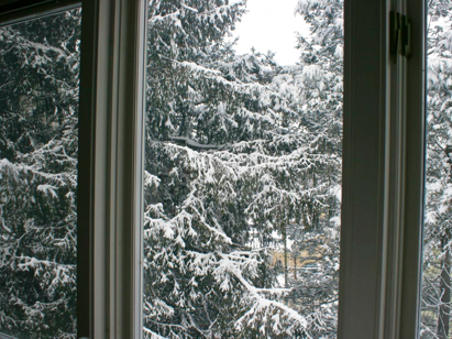 Snow through the window