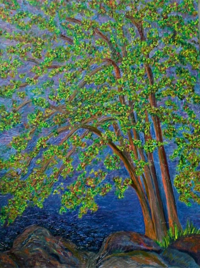 """Tree at Long Lake, Maine"" (oil)"