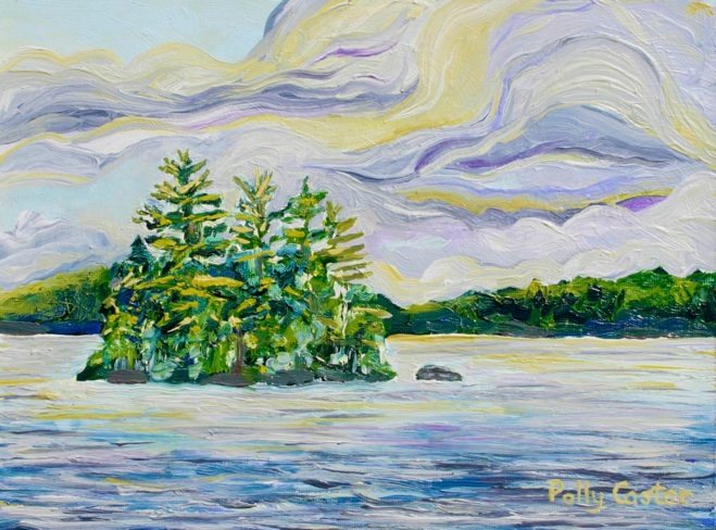 "Cumulous Clouds over ""Cherry Island, Harrison, Maine"" (oil) by Polly Cator"