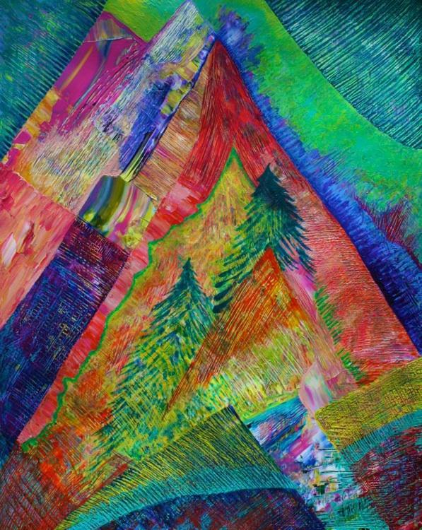 A Tree Motif (acrylic) by Polly Castor