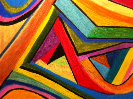 Angular Pull (oil pastel) by Polly Castor