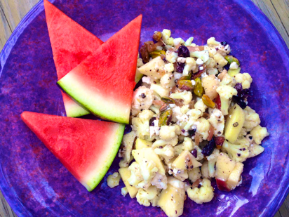 salad recipes with apples, cauliflower salads, red onion vinaigrette