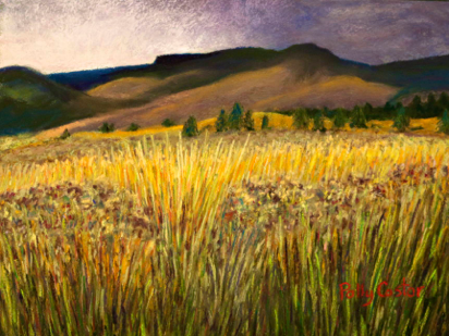 Pastel landscape by Polly Castor, From Storm into Sunshine