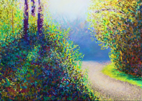 Pastel by Polly Castor, Entering the Quarry Early in the Fall