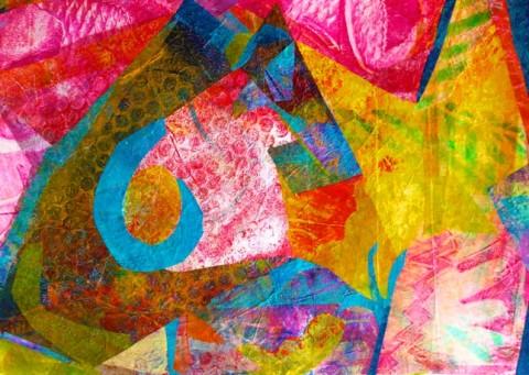 Monoprint collage, Polly Castor art