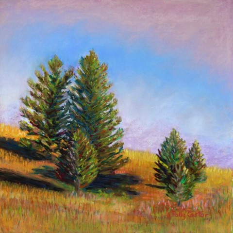 Pastel by Polly Castor, Evening Sun in Yellowstone