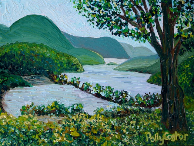 Polly Castor Plein Air painting, Humid Hudson, view from Boscobell