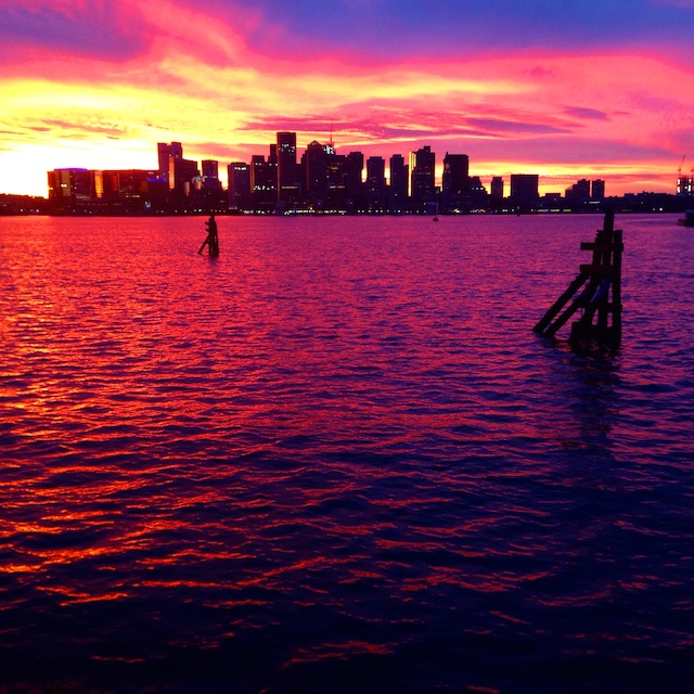 Boston skyline at sunset, Boston sunset