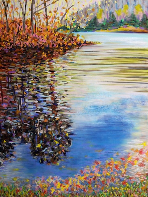 Landscape painting in pastel, Polly Castor art, Polly Castor painting, Great Hollow Lake in November, Polly Castor pastel landscape
