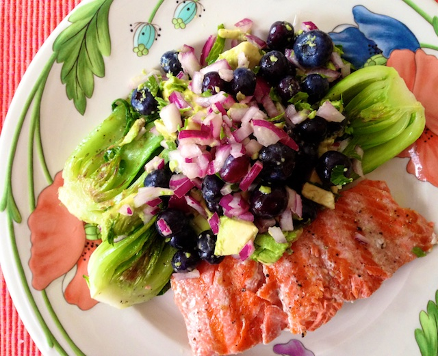 recipe for salmon and bok choy with blueberry salsa