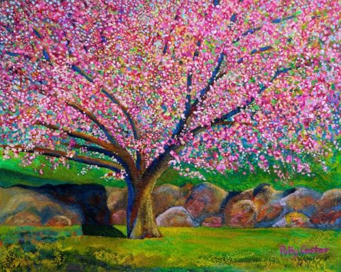 Blooming Crabapple in Evening Light (painting in acrylic) by Polly Castor