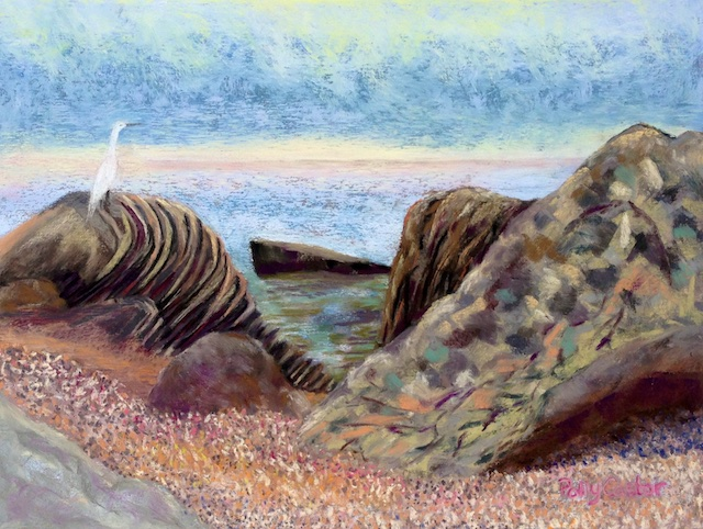 Egret on the Sound (plein air pastel painting) by Polly Castor