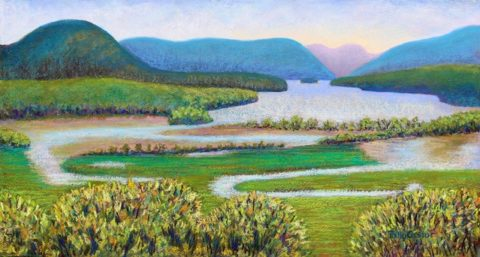 plein air pastel painting Hudson River in Summer