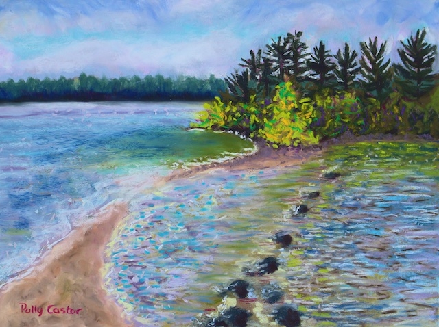 Sandbar to Hairbrush Island (pastel) by Polly Castor