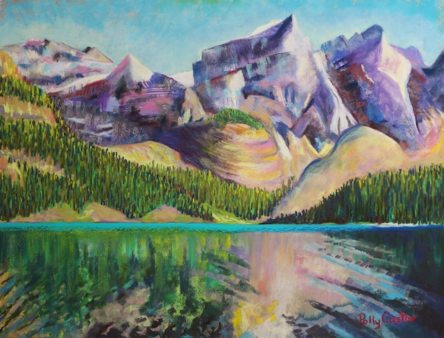 Moraine Lake (pastel) by Polly Castor