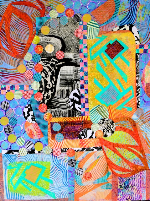 All That Jazz (monoprint collage) by Polly Castor